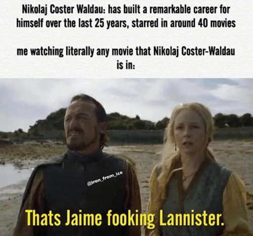 starred: Nikolaj Coster Waldau: has built a remarkable career for  himself over the last 25 years, starred in around 40 movies  me watching literally any movie that Nikolaj Coster-Waldau  is in:  Riron_from ice  Thats Jaime fooking Lannister.