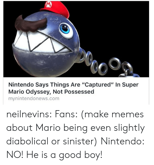 """Sinister: Nintendo Says Things Are """"Captured"""" In Super  Mario Odyssey, Not Possessed  mynintendonews.com neilnevins:  Fans: (make memes about Mario being even slightly diabolical or sinister)  Nintendo: NO! He is a good boy!"""