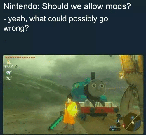 Nintendo, Yeah, and Mods: Nintendo: Should we allow mods?  - yeah, what could possibly go  wrong?  X""