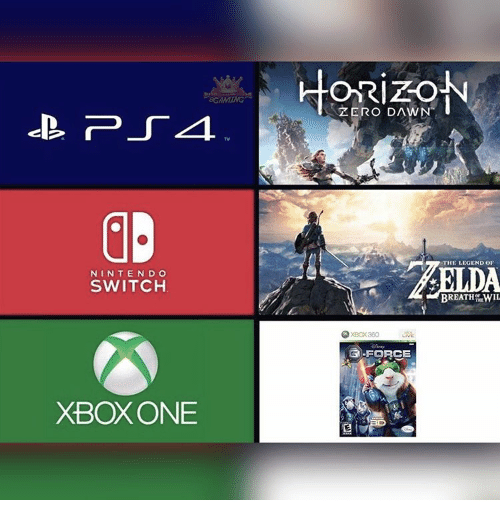 Xbox 360: NINTENDO  SWITCH  XBOX ONE  ORizoN  ZERO DAWN  THE LEGEND OF  BREATH LWIL  XBox 360  GI-FORCE