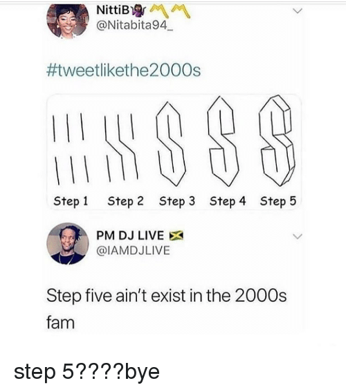 Fam, Memes, and Live: @Nitabita94  #weetlikethe2000s  I1  Step 1  Step 2  Step 3  Step 4  Step 5  PM DJ LIVE X  @IAMDJLIVE  Step five ain't exist in the 2000s  fam step 5????bye