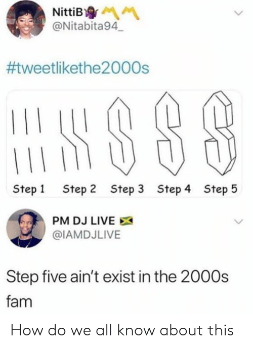 Step 2: NittiB  @Nitabita94  #tweetlikethe2000s  Step 1  Step 2  Step 3  Step 4  Step 5  PM DJ LIVE  @IAMDJLIVE  Step five ain't exist in the 2000s  fam How do we all know about this