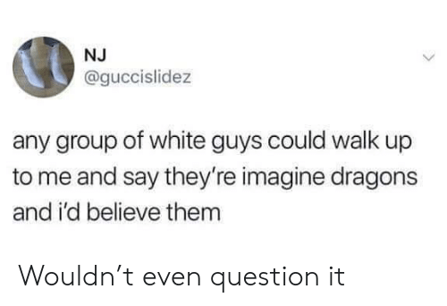 Imagine Dragons, White, and Dragons: NJ  @guccislidez  any group of white guys could walk up  to me and say they're imagine dragons  and i'd believe them Wouldn't even question it