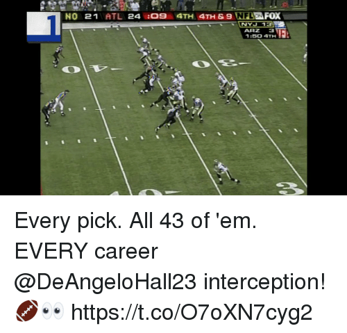 Memes, Nfl, and 🤖: NO 21ATL 24 :09 4TH 4TH & 9  NFL  EFOX  mNYJ  1:50 4TH Every pick. All 43 of 'em.  EVERY career @DeAngeloHall23 interception! 🏈👀 https://t.co/O7oXN7cyg2