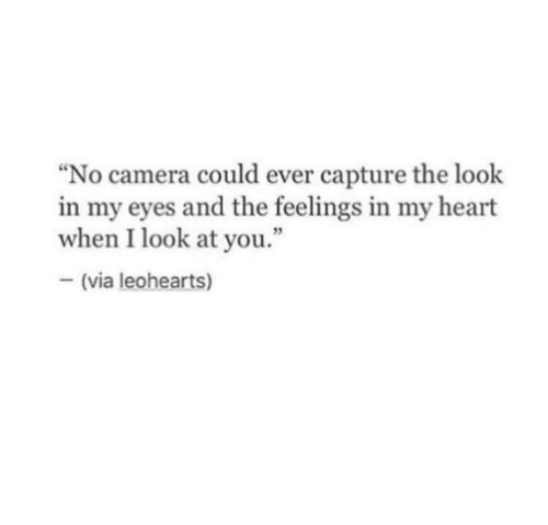 """The Feelings: No camera could ever capture the look  in my eyes and the feelings in my heart  when I look at you.""""  (via leohearts)"""