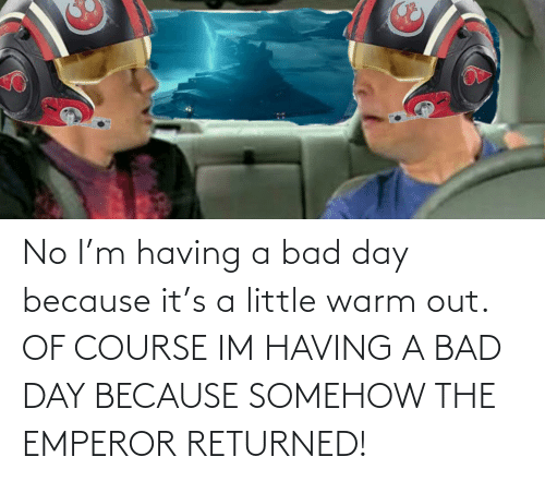 No I: No I'm having a bad day because it's a little warm out. OF COURSE IM HAVING A BAD DAY BECAUSE SOMEHOW THE EMPEROR RETURNED!