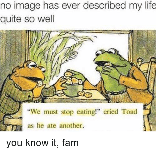 "We Must Stop Eating Cried Toad As He Ate Another: no image has ever described my life  quite so well  ""We must stop eating!"" cried Toad  as he ate another. you know it, fam"