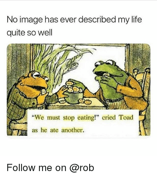 "We Must Stop Eating Cried Toad As He Ate Another: No image has ever described my life  quite so well  ""We must stop eating!"" cried Toad  as he ate another. Follow me on @rob"