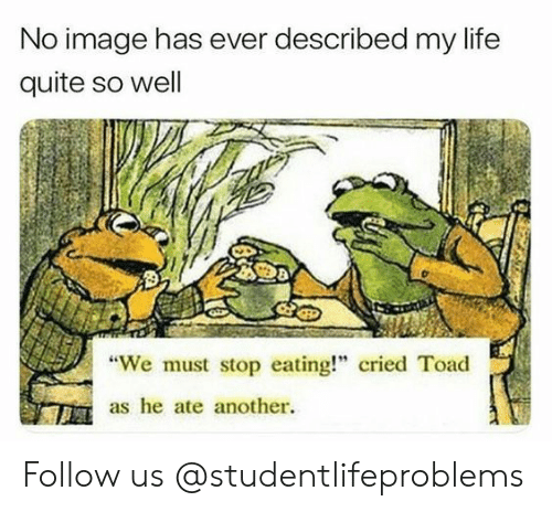 "We Must Stop Eating Cried Toad As He Ate Another: No image has ever described my life  quite so well  ""We must stop eating!"" cried Toad  as he ate another. Follow us @studentlifeproblems​"