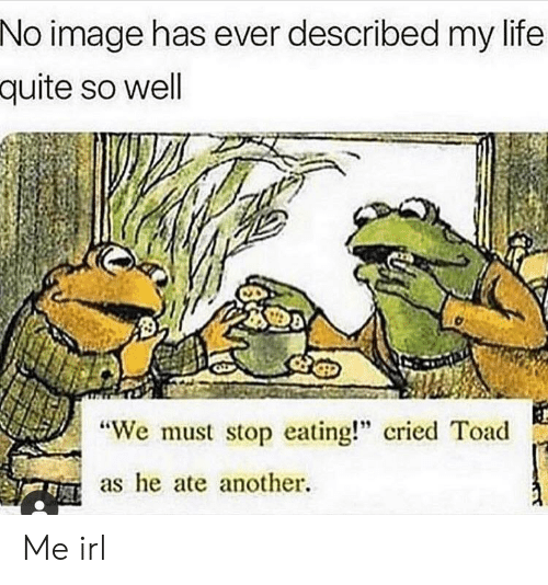 """toad: No image has ever described my life  quite so well  """"We must stop eating!"""" cried Toad  as e ate another. Me irl"""