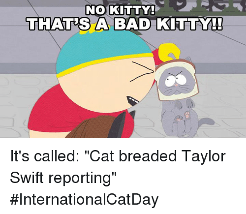 """Bad, Dank, and Taylor Swift: NO KITTY!  THATES A BAD KITTY!  A BAD KITTY It's called: """"Cat breaded Taylor Swift reporting"""" #InternationalCatDay"""