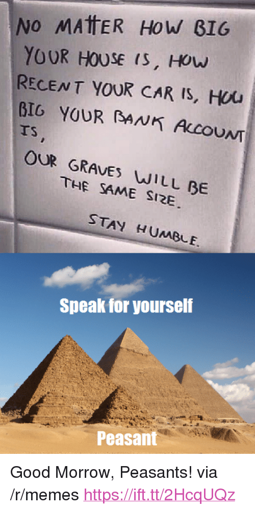 "Speak For Yourself Peasant: No MAtER HoW B16  YOUR HOUSE (S, HOw  RECENT YOUR CAR Is, Hou  BIG YOUR BANK ALCOUNT  TS  OUR GRAVES WILL BE  THE SAME SI2E  STAY HUMBLE.  Speak for yourself  Peasant <p>Good Morrow, Peasants! via /r/memes <a href=""https://ift.tt/2HcqUQz"">https://ift.tt/2HcqUQz</a></p>"