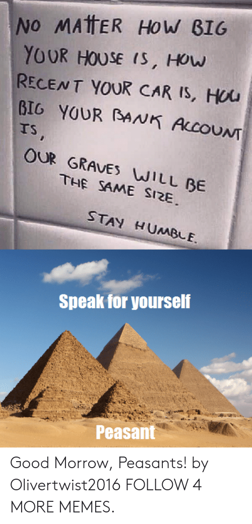 Speak For Yourself Peasant: No MATTER How BIG  YOUR HOUSE IS, How  RECENT YOUR CAR IS, HUU  BIG YOUR BANK ALCOUNT  TS,  OUR GRAVES WILL BE  THE SAME SIZE  STAY HUMBLE  Speak for yourself  Peasant Good Morrow, Peasants! by Olivertwist2016 FOLLOW 4 MORE MEMES.