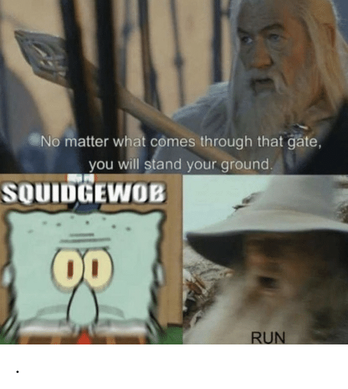 gate: No matter what comes through that gate,  you will stand your ground.  SOUIDGEWOB  00  RUN .