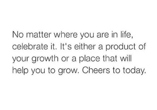 Life, Help, and Today: No matter where you are in life,  celebrate it. It's either a product of  your growth or a place that will  help you to grow. Cheers to today.