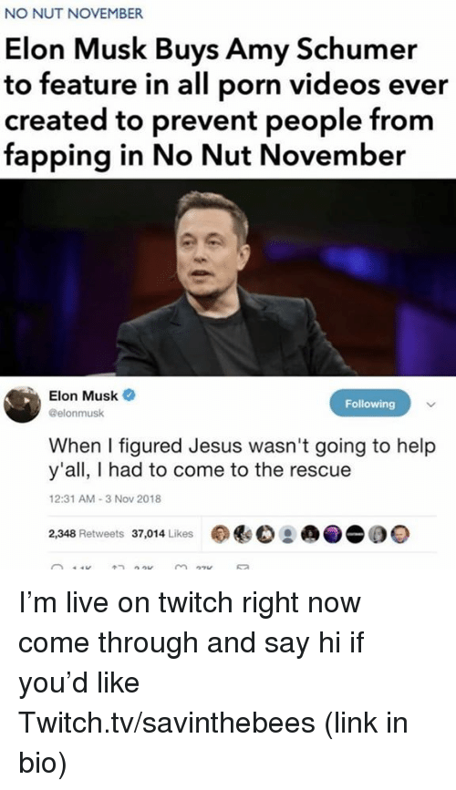Come Through: NO NUT NOVEMBER  Elon Musk Buys Amy Schumer  to feature in all porn videos ever  created to prevent people from  fapping in No Nut November  Elon Musk  @elonmusk  Following  When I figured Jesus wasn't going to help  y'all, I had to come to the rescue  2:31 AM-3 Nov 2018  2,348 Retweets 37,014 Likes I'm live on twitch right now come through and say hi if you'd like  Twitch.tv/savinthebees (link in bio)