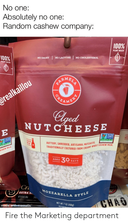 dairy: No one:  Absolutely no one:  Random cashew company:  100%  PLANT BASED  100%  NO LACTOSE  NO CHOLESTEROL  NO DAIRY  PLANT BASED  ARMBLS  POEAMENRY  drealkaillou  Clged  NUTCHE ESE  E  NON  GMO  CAS  MII  VERIFIED  BUTTERY, SHREDDED. ARTISANAL NUTCHEES  TRADITIONALLY CULTURED FROM CREAMY WHOLE CASHEW MILK  SHEW MILK  30  AGED  DAYS  Cr  AST  MOZZARELLA STYLE  EXTRAS  ETATBOZOH  GAN  CHAO  NET WT 7 0Z (198g  made with mematic  KEEP REFRIGEDATER Fire the Marketing department