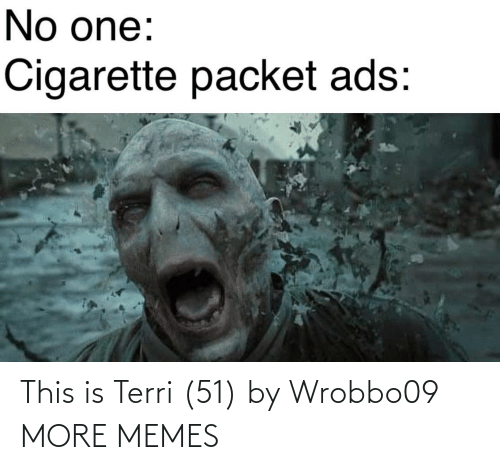 Terri: No one:  Cigarette packet ads: This is Terri (51) by Wrobbo09 MORE MEMES