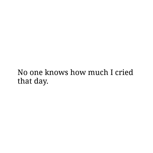 How, One, and Day: No one knows how much I cried  that day.