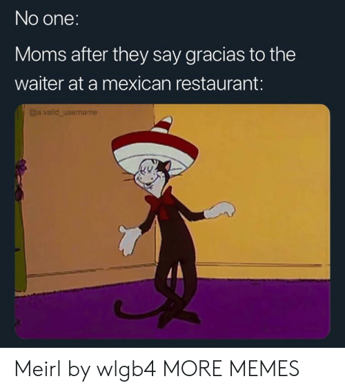 Dank, Memes, and Moms: No one:  Moms after they say gracias to the  waiter at a mexican restaurant:  @a.valid_username Meirl by wlgb4 MORE MEMES