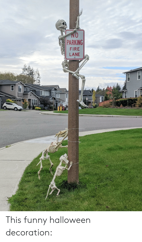parking: NO  PARKING  FIRE  LANE  I This funny halloween decoration: