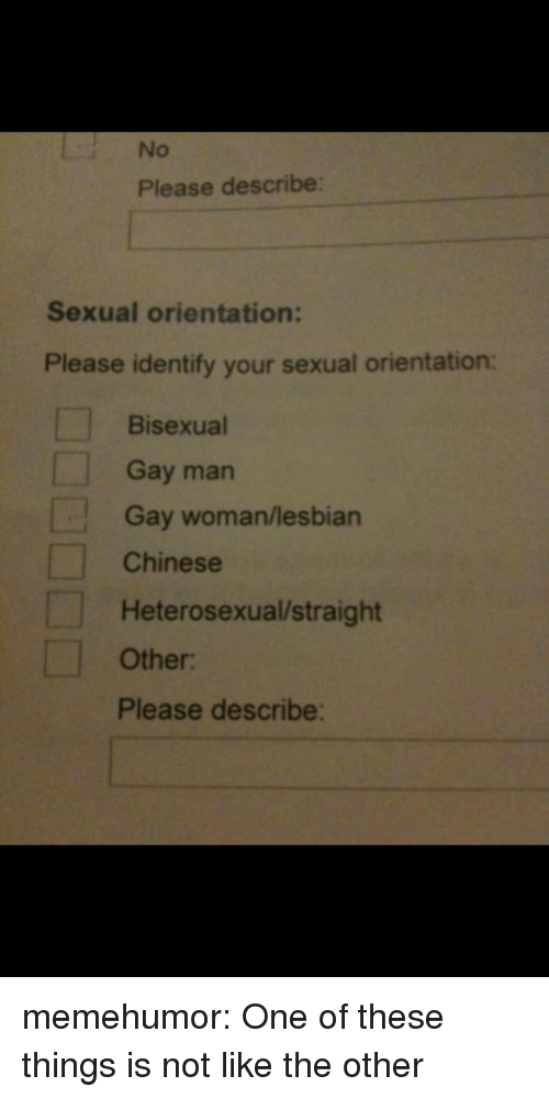 Target, Tumblr, and Blog: No  Please describe:  Sexual orientation:  Please identify your sexual orientation:  Bisexual  Gay man  Gay woman/lesbian  Chinese  Heterosexual/straight  Other  Please describe: memehumor:  One of these things is not like the other