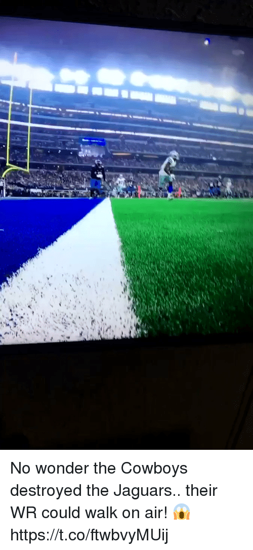 Dallas Cowboys, Football, and Nfl: No wonder the Cowboys destroyed the Jaguars.. their WR could walk on air! 😱 https://t.co/ftwbvyMUij