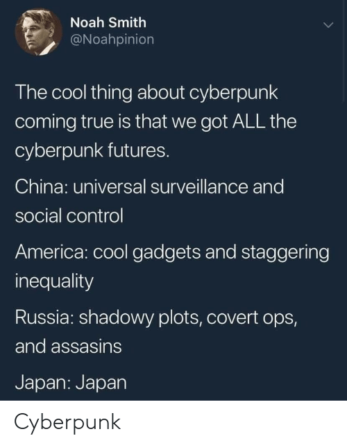 ops: Noah Smith  @Noahpinion  The cool thing about cyberpunk  coming true is that we got ALL the  cyberpunk futures.  China: universal surveillance and  social control  America: cool gadgets and staggering  inequality  Russia: shadowy plots, covert ops,  and assasins  Japan: Japan Cyberpunk