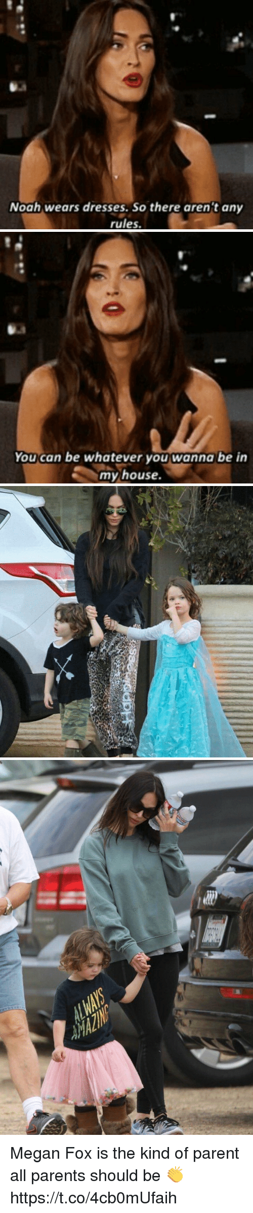 Megan Fox: Noah wears dresses. So there arent any  rules.   You can be whatever you wanna be in  my house.   亡 Megan Fox is the kind of parent all parents should be 👏 https://t.co/4cb0mUfaih