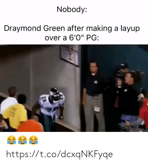 """Draymond Green, Football, and Nfl: Nobody:  Draymond Green after making a layup  over a 6'0"""" PG: 😂😂😂 https://t.co/dcxqNKFyqe"""