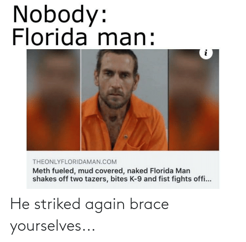 k-9: Nobody:  Florida man:  THEONLYFLORIDAMAN.COM  Meth fueled, mud covered, naked Florida Man  shakes off two tazers, bites K-9 and fist fights offi... He striked again brace yourselves...
