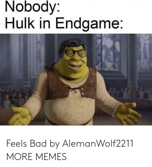 Hulk: Nobody:  Hulk in Endgame: Feels Bad by AlemanWolf2211 MORE MEMES