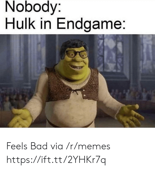 Hulk: Nobody:  Hulk in Endgame: Feels Bad via /r/memes https://ift.tt/2YHKr7q