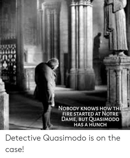 nobody knows: NOBODY KNOWS HOW THE  FIRE STARTED AT NOTRE  DAME, BUT QUASIMODO  HAS A HUNCH Detective Quasimodo is on the case!