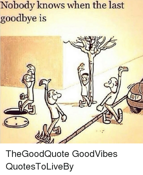 Nobody Know: Nobody knows when the last  goodbye is TheGoodQuote GoodVibes QuotesToLiveBy