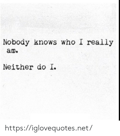 Net, Who, and Href: Nobody knows who I really  am.  Neither do I. https://iglovequotes.net/