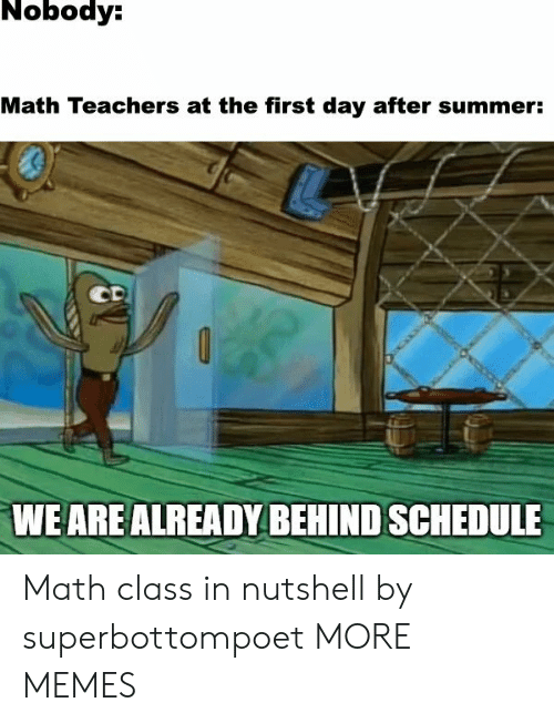 Day After: Nobody:  Math Teachers at the first day after summer:  CD  WE ARE ALREADY BEHIND SCHEDULE Math class in nutshell by superbottompoet MORE MEMES