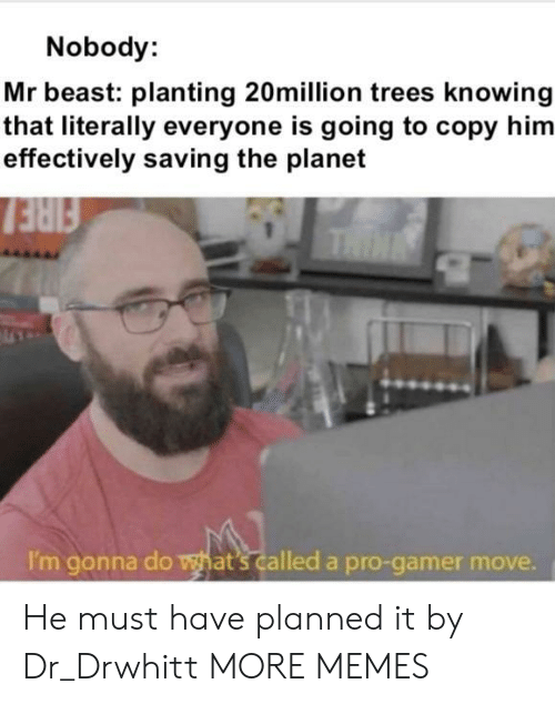 gonna do: Nobody:  Mr beast: planting 20million trees knowing  that literally everyone is going to copy him  effectively saving the planet  FIRE  THIN  I'm gonna do what's called a pro-gamer move. He must have planned it by Dr_Drwhitt MORE MEMES
