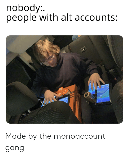 Alt Accounts: nobody:.  people with alt accounts: Made by the monoaccount gang