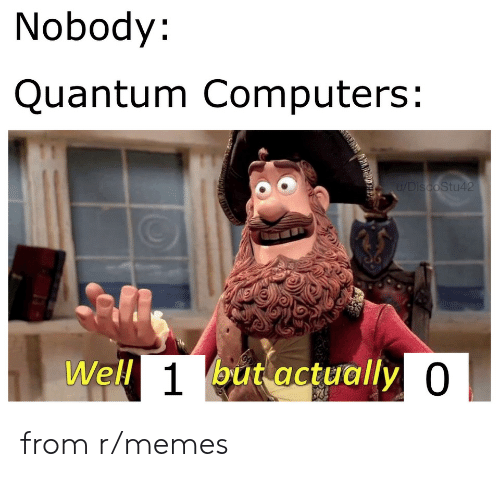 Computers: Nobody:  Quantum Computers:  u/DiscoStu42  Well 1but actually 0 from r/memes