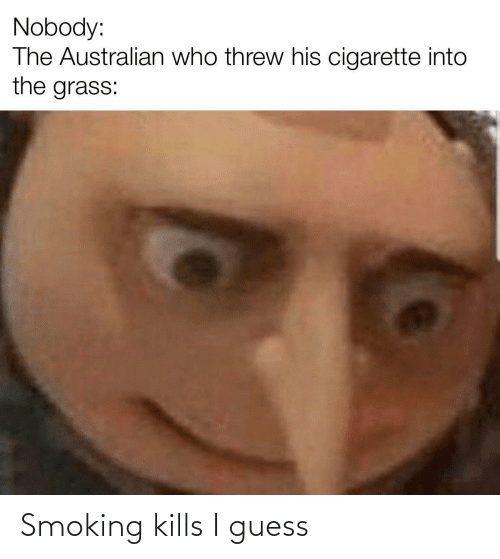 Threw: Nobody:  The Australian who threw his cigarette into  the grass:  %2 Smoking kills I guess