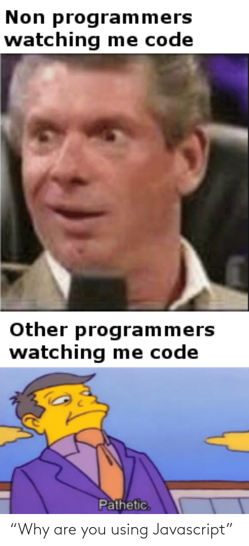"""pathetic: Non programmers  watching me code  Other programmers  watching me code  Pathetic, """"Why are you using Javascript"""""""