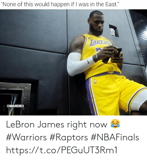 "Los Angeles Lakers, LeBron James, and Lebron: ""None of this would happen if I was in the East.""  LAKERS  @NBAMEMES LeBron James right now 😂  #Warriors #Raptors #NBAFinals https://t.co/PEGuUT3Rm1"