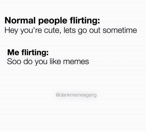 Memes, 🤖, and Soos: Normal people flirting  Hey you're cute, lets go out sometime  Me flirting:  Soo do you like memes  @dankmemesgang