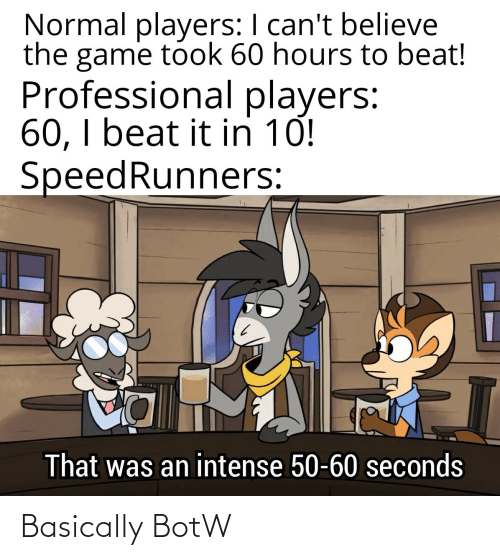 seconds: Normal players: I can't believe  the game took 60 hours to beat!  Professional players:  60, I beat it in 10!  SpeedRunners:  That was an intense 50-60 seconds Basically BotW