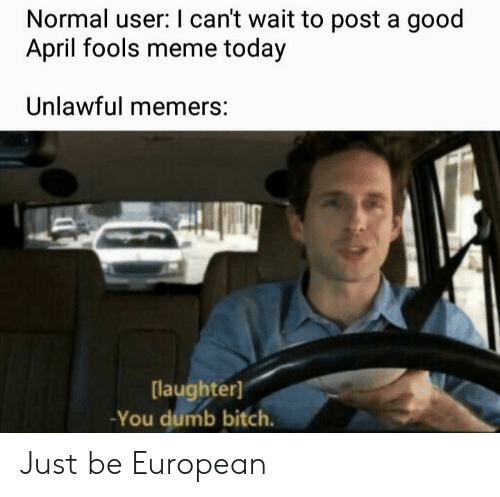 april fools meme: Normal user: I can't wait to post a good  April fools meme today  Unlawful memers:  laughter)  -You dumb bitch. Just be European