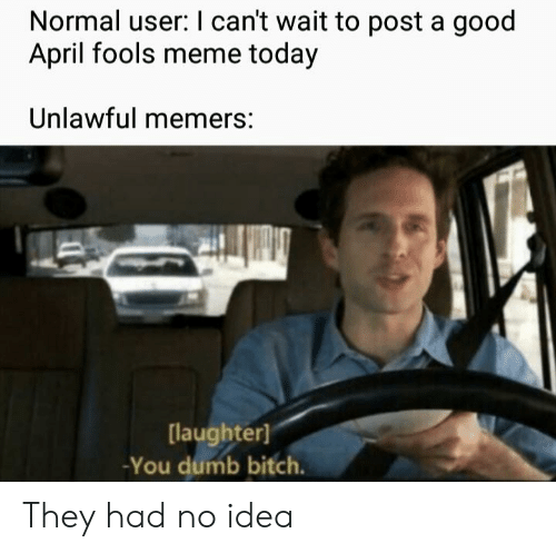 april fools meme: Normal user: I can't wait to post a good  April fools meme today  Unlawful memers:  laughter)  -You dumb bitch. They had no idea