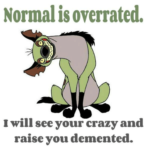 Dementic: Normalisoverrated.  will see your crazy and  raise you demented.