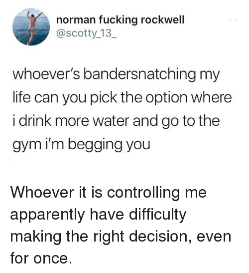 Apparently, Dank, and Fucking: norman fucking rockwell  @scotty_13  whoever's bandersnatching my  life can you pick the option where  i drink more water and go to the  gym i'm begging you Whoever it is controlling me apparently have difficulty making the right decision, even for once.