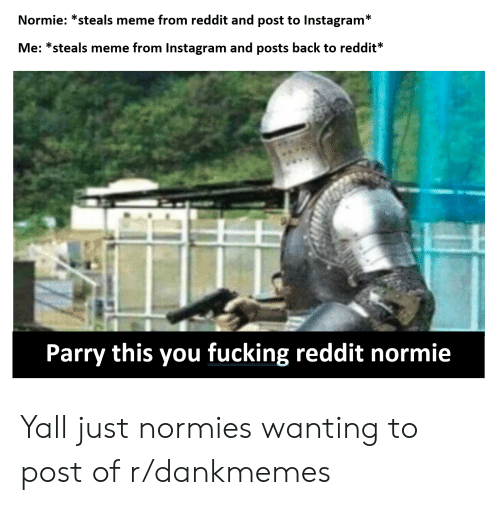 Normie *Steals Meme From Reddit and Post to Instagram* Me
